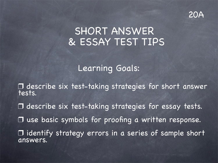 Lesson 20 – Short Answer & Essay Test Tips
